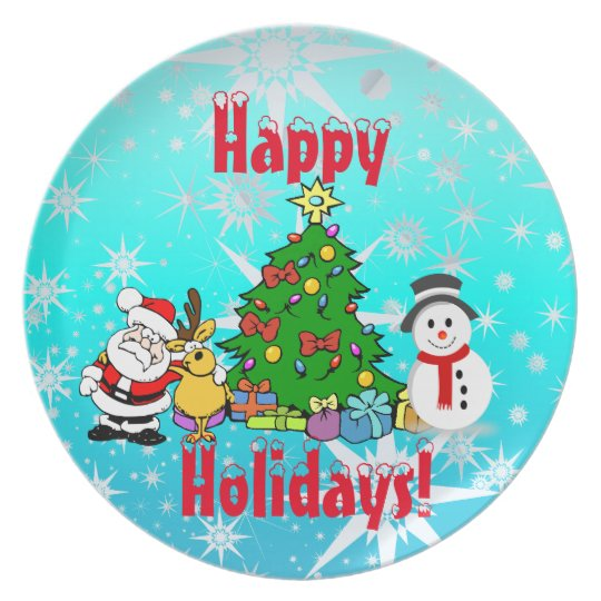 Happy Holidays Melamine Plate