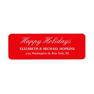 Happy Holidays Merry Christmas Red White Family Return Address Label