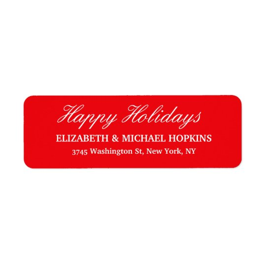 Happy Holidays Merry Christmas Red White Family Return Address Label
