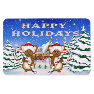 Happy Holiday's Mice Flex Magnets