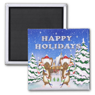 Happy Holiday's Mice Square Magnet