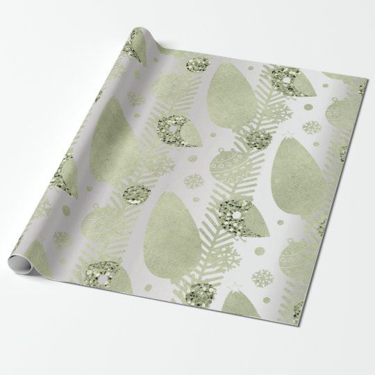 Happy Holidays Mint Silver Glitter Christmas Tree Wrapping Paper