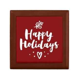 Happy Holidays Mistletoe And Heart Gift Box