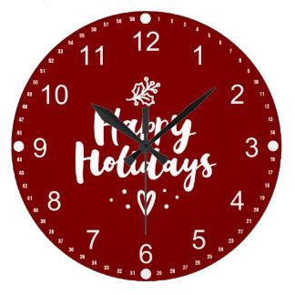 Happy Holidays Mistletoe And Heart Large Clock