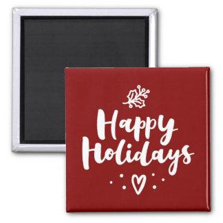 Happy Holidays Mistletoe And Heart Magnet
