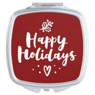 Happy Holidays Mistletoe And Heart Makeup Mirrors