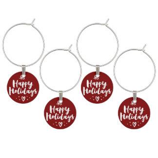 Happy Holidays Mistletoe And Heart Wine Charm
