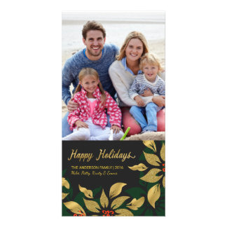 Happy Holidays Mod Poinsettia Faux Gold Foil Card