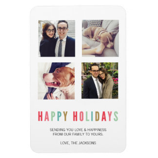 Happy Holidays | Modern & Bright 4 Photo Magnet