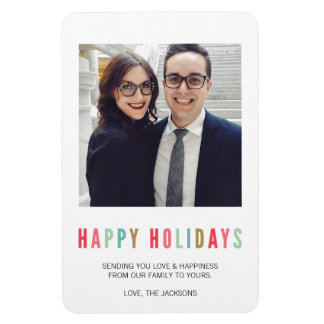 Happy Holidays | Modern & Bright Photo Magnet