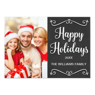 Happy Holidays Modern Family Chalkboard Card 13 Cm X 18 Cm Invitation Card