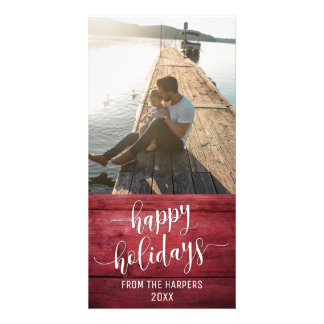 Happy Holidays Modern Script Red Rustic Wood Card