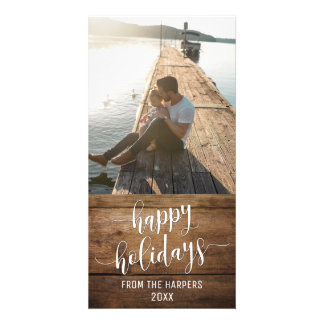 Happy Holidays Modern Script Type Rustic Wood Card