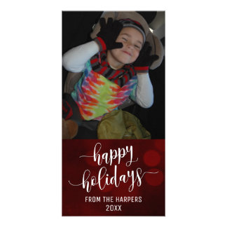 Happy Holidays Modern Script w/ Red Bokeh Lights Card