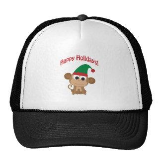 Happy Holidays! Monkey Christmas Elf Hat
