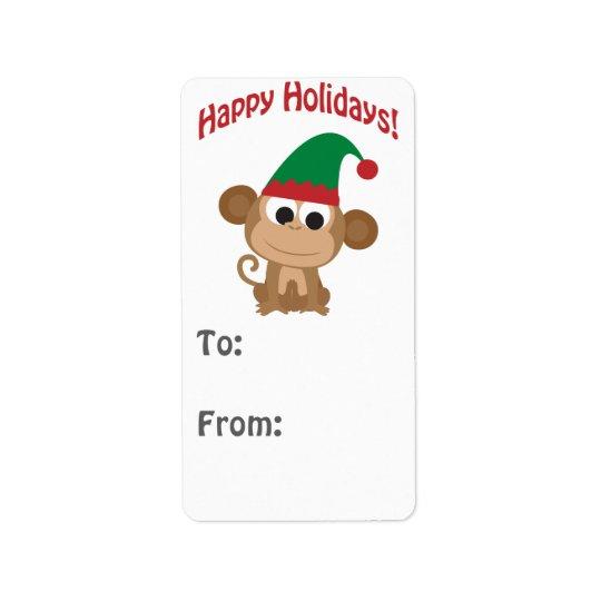 Happy Holidays! Monkey Elf Gift tag Address Label