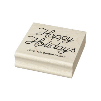 Happy Holidays Monoline Script Rubber Art Stamp