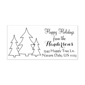 Happy Holidays, Name, Address, Evergreen Trees Rubber Stamp
