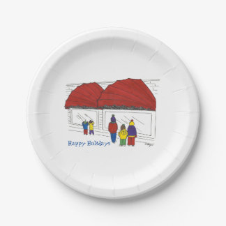 Happy Holidays NYC Window Shopping Christmas Plate