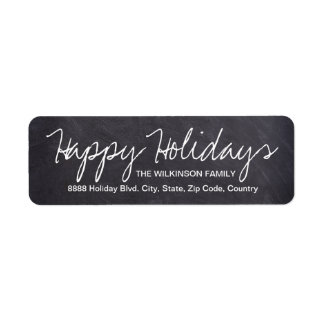 Happy Holidays on Chalkboard, family name Return Address Label