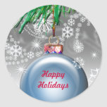 Happy Holidays Ornament Christmas Envelope Seals Round Stickers