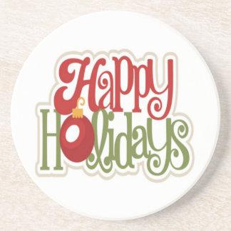 Happy Holidays Ornament Drink Coaster