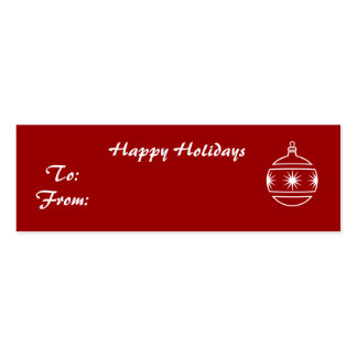 Happy Holidays, ornament on red background Business Card Template