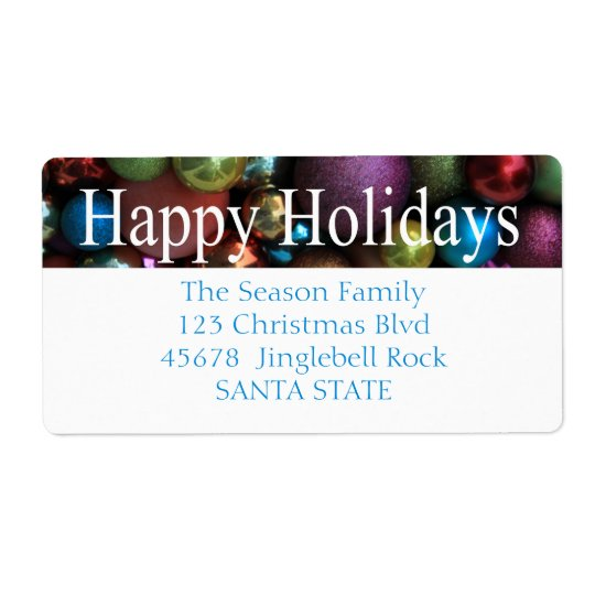 Happy Holidays ornaments Holiday Label Shipping Label