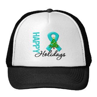 Happy Holidays Ovarian Cancer Awareness Trucker Hat