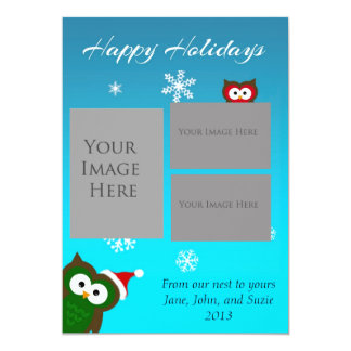Happy Holidays Owl Card 13 Cm X 18 Cm Invitation Card