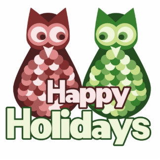 Happy Holidays Owls Photo Sculpture Decoration