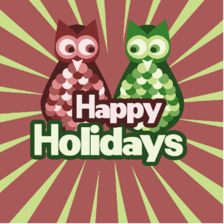 Happy Holidays Owls Photo Sculptures