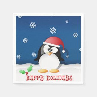 Happy Holidays Penguin Paper Napkins