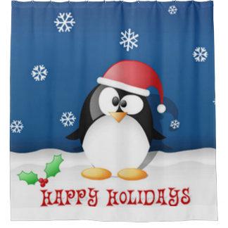 Happy Holidays Penguin Shower Curtain