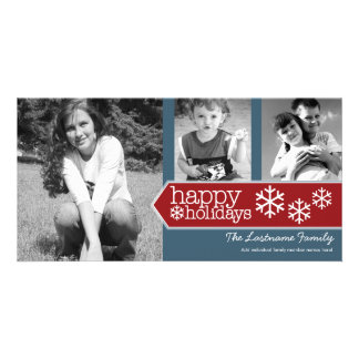 Happy Holidays Photo - 3 photos Red White Blue Photo Cards