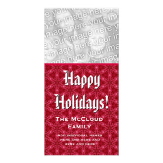 Happy Holidays Photo Card Custom Family Name