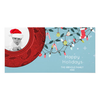 Happy Holidays Photo Card Festive Red Blue