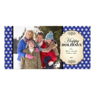 Happy Holidays Photo Card Vintage in Blue