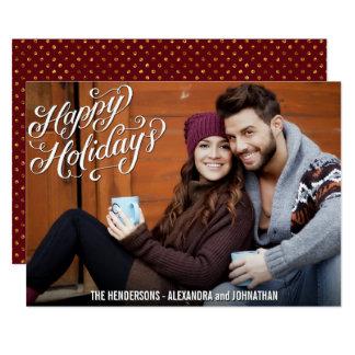 Happy Holidays Photo Family Chalk Script Greetings Card