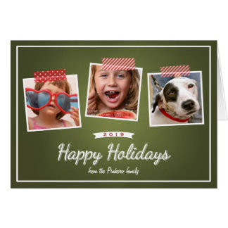 Happy Holidays Photo Holiday Chalkboard Green Red Card