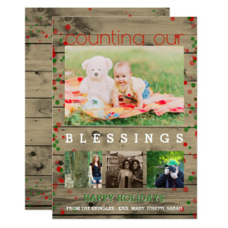 Happy Holidays Photo Rustic Wood Count Blessings Card