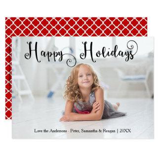 Happy Holidays Photo Swirly Font-3x5Christmas Card