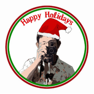 Happy Holidays Photographer With Santa Hat Standing Photo Sculpture