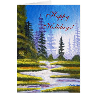 Happy Holidays Pine Forest Painting Greeting Card