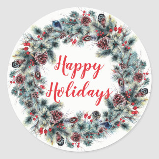 Happy Holidays Pine Wreath Christmas Sticker