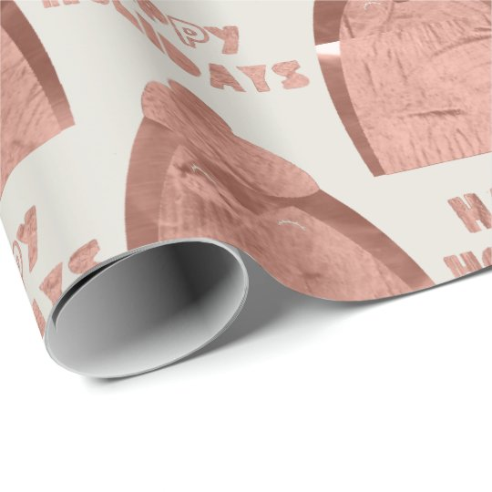 Happy Holidays Pinguin Grey Rose Gold Copper Wrapping Paper