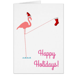Happy Holidays! - Pink Flamingo Silhouette Card