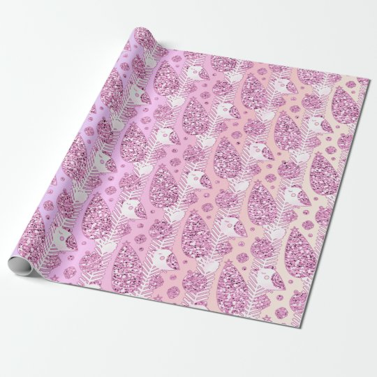 Happy Holidays Pink  Ombre Glitter Christmas Decor Wrapping Paper