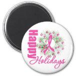 Happy Holidays Pink Ribbon Wreath