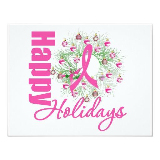 Happy Holidays Pink Ribbon Wreath 11 Cm X 14 Cm Invitation Card